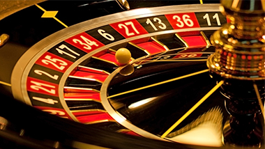A roulette wheel spins